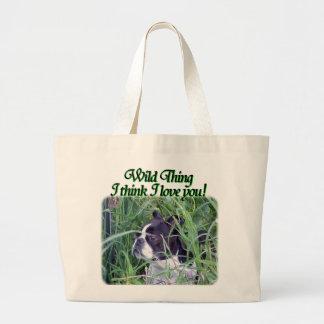 Boston Terrier:  Wild Thing Large Tote Bag