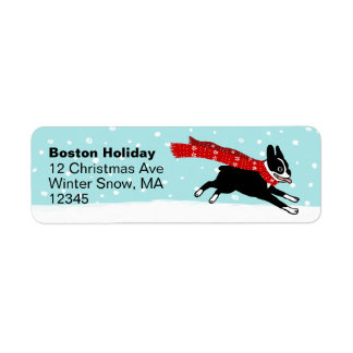 Boston Terrier Winter Holiday Return Address Label
