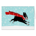 Boston Terrier Winter Snow Holiday Greeting Card