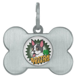 Boston Terrier with a four leaf clover Pet ID Tags