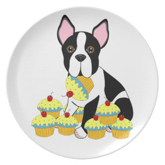 Boston Terrier with Blue Cupcakes Plate