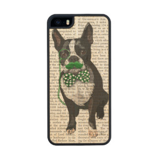 Boston Terrier With Green Moustache And Spotty Wood iPhone SE/5/5s Case