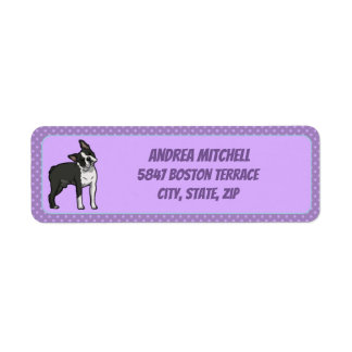 Boston Terrier with Light Purple Paw Prints Return Address Label