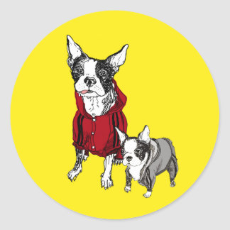 Boston Terrier with Puppy in Track Suits Stickers