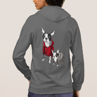 Boston Terrier with Puppy in Tracksuits Sweatshirt