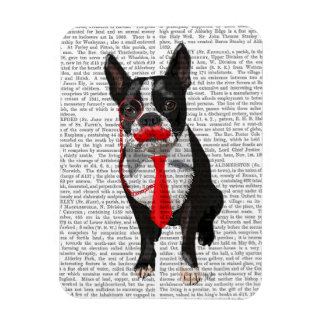 Boston Terrier With Red Tie and Moustache 2 Rectangular Photo Magnet