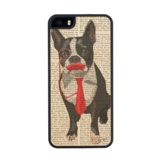 Boston Terrier With Red Tie and Moustache 2 Wood iPhone SE/5/5s Case