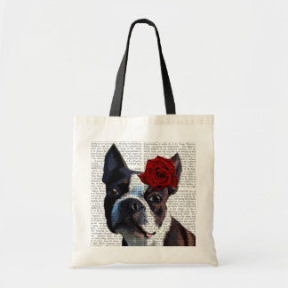 Boston Terrier with Rose on Head Budget Tote Bag