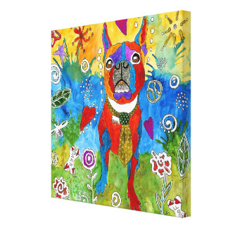 Boston Terrier Wrapped Canvas 20x20 (Customizable)