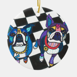 Boston Terriers by Heather Galler Ceramic Ornament