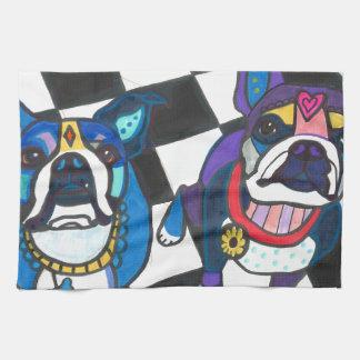 Boston Terriers by Heather Galler Tea Towel