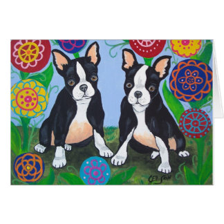 "Boston Terriers ""Friends"" Notecard"