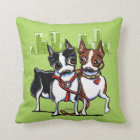 Boston Terriers Leashed Cushion
