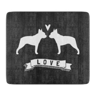Boston Terriers Love - Dog Silhouettes with Heart Cutting Boards