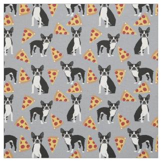 Boston Terriers Pizza fabric
