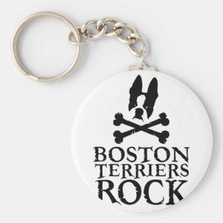 Boston Terriers Rock Basic Round Button Key Ring