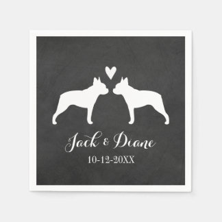 Boston Terriers Wedding Couple with Custom Text Disposable Serviettes