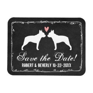 Boston Terriers Wedding Save the Date Rectangular Photo Magnet