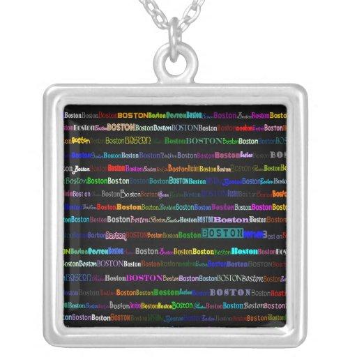 Boston Text Design I Square Necklace