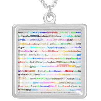 Boston Text Design II Square Necklace