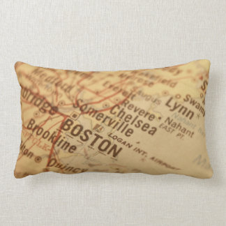Boston Vintage Map Lumbar Pillow