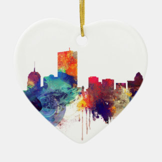 Boston watercolor skyline ceramic ornament