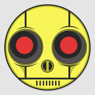 Bot Face Classic Round Sticker