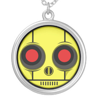 Bot Face Silver Plated Necklace