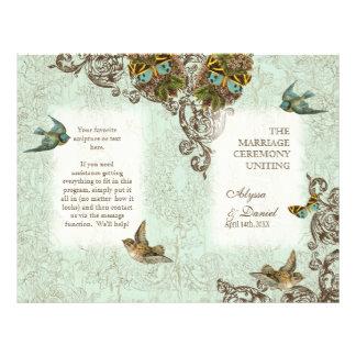 Botanica Birds Butterfly Swirl  Wedding Program Flyer