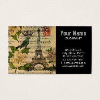 botanical art french bird Paris Eiffel Tower Business Card