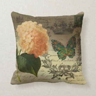 botanical art Hydrangea butterfly crown Paris Cushion