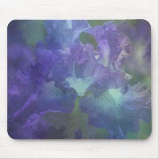 Botanical art impressionism flower purple iris mouse pad