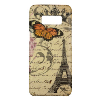 botanical art scripts hydrangea Paris Eiffel tower Case-Mate Samsung Galaxy S8 Case