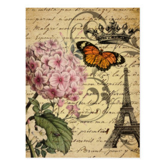 botanical art scripts hydrangea Paris Eiffel tower Postcard
