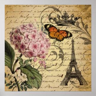 botanical art scripts hydrangea Paris Eiffel tower Poster