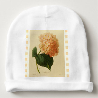 Botanical--Babies-Vintage-Floral-Art_Cream Checks Baby Beanie