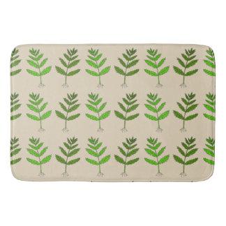 Botanical Bathmat with Green Plant Design