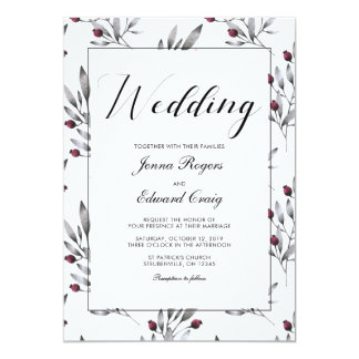 Botanical Berries and Lace Wedding Card