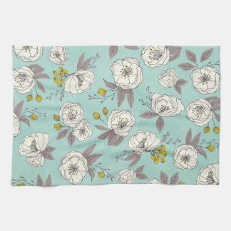 Botanical Blooms in Blue Tea Towel