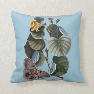 Botanical blue cushion with butterfly/moth