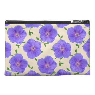 Botanical Blue Geranium Flower Travel Accessory Bag