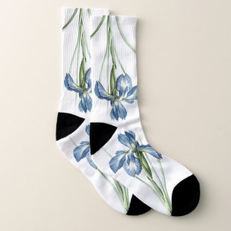 Botanical Blue Iris Flower Redoute Socks 1