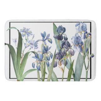 Botanical Blue Iris Flowers Garden Bath Mat
