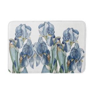 Botanical Blue Iris Flowers Redoute Bath Mat