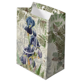 Botanical Blue Iris Flowers Redoute Ferns Gift Bag