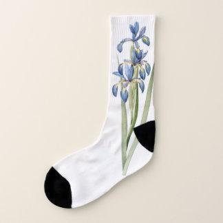 Botanical Blue Iris Flowers Redoute Socks 1