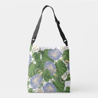 Botanical Blue Morning Glory Flowers Floral Crossbody Bag