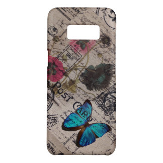 botanical butterfly burlap french country scripts Case-Mate samsung galaxy s8 case