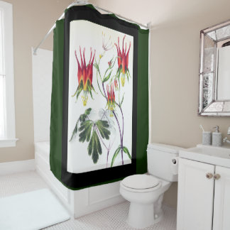Botanical Columbine Flowers Shower Curtain
