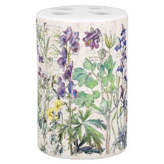 Botanical Columbine Violets Flowers Bath Set